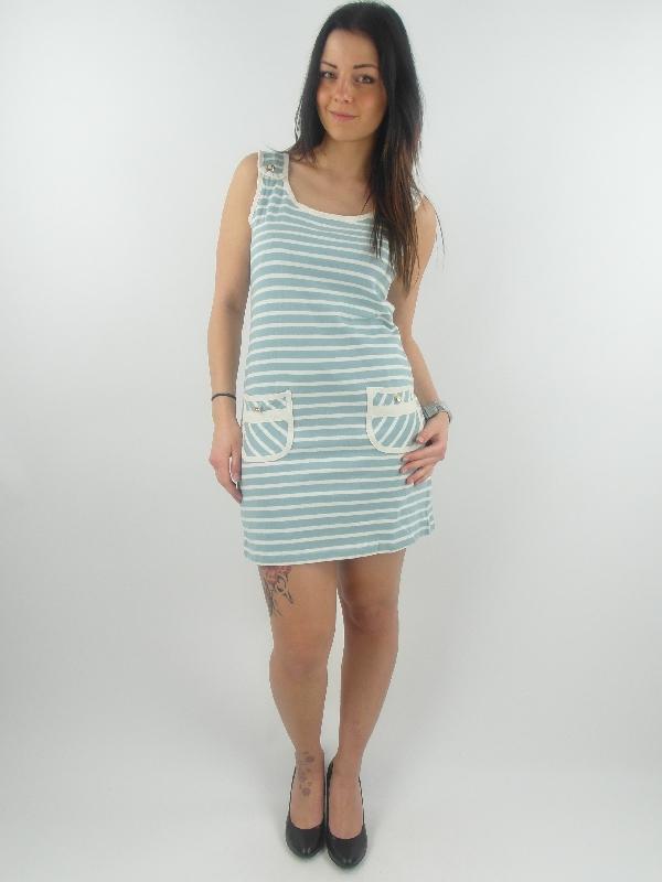 yumi kleid sommerkleid k-1672 hellblau weiß gestreift | ebay