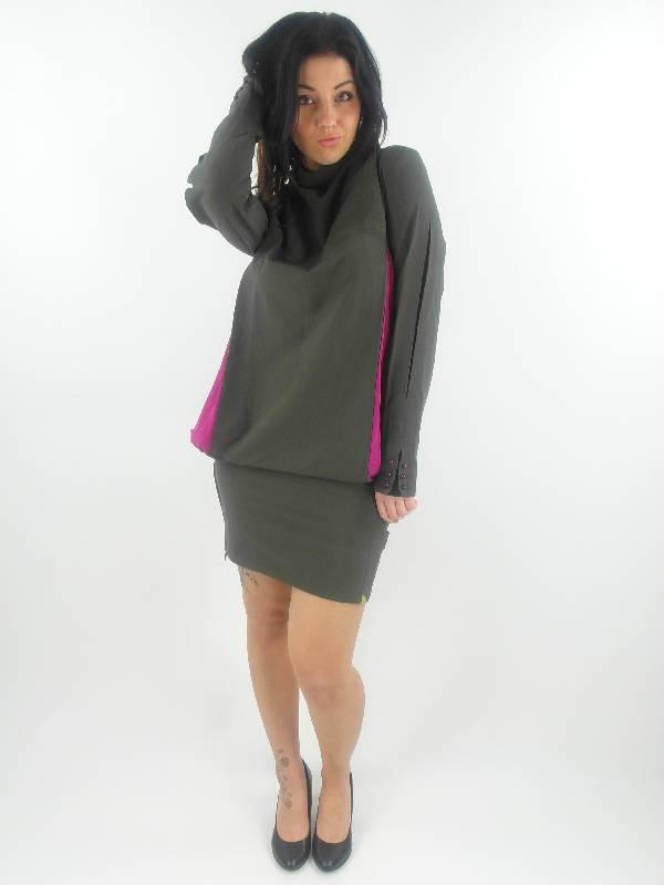original-Skunkfunk-Kleid-Errakel-gruen-Kragen-Taschen-Knoepfe-langarm