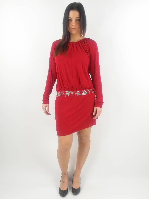 original-Skunkfunk-Kleid-Sommerkleid-Abauntz-rot-Bambus-Muster-Langarm