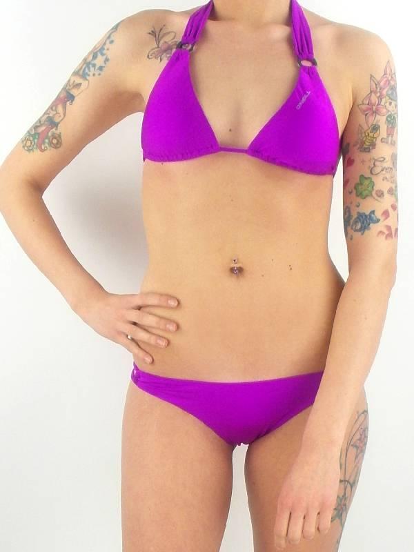 O/'NEILL Womens Pink Martini Dot Triangle Halter Neck Bikini Set 38C BNWT