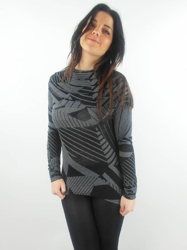original-Skunkfunk-Longsleeve-Langarmshirt-A653-grau-schwarz-tailliert