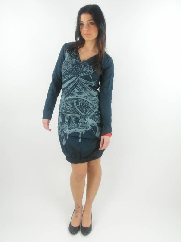 original-Skunkfunk-Kleid-Sommerkleid-Eloisa-blau-langarm-Muster-NEU