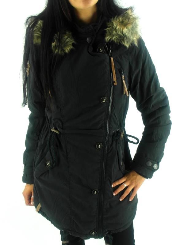 naketano mantel wintermantel sissimuschi schwarz kapuze fell fleece ebay. Black Bedroom Furniture Sets. Home Design Ideas