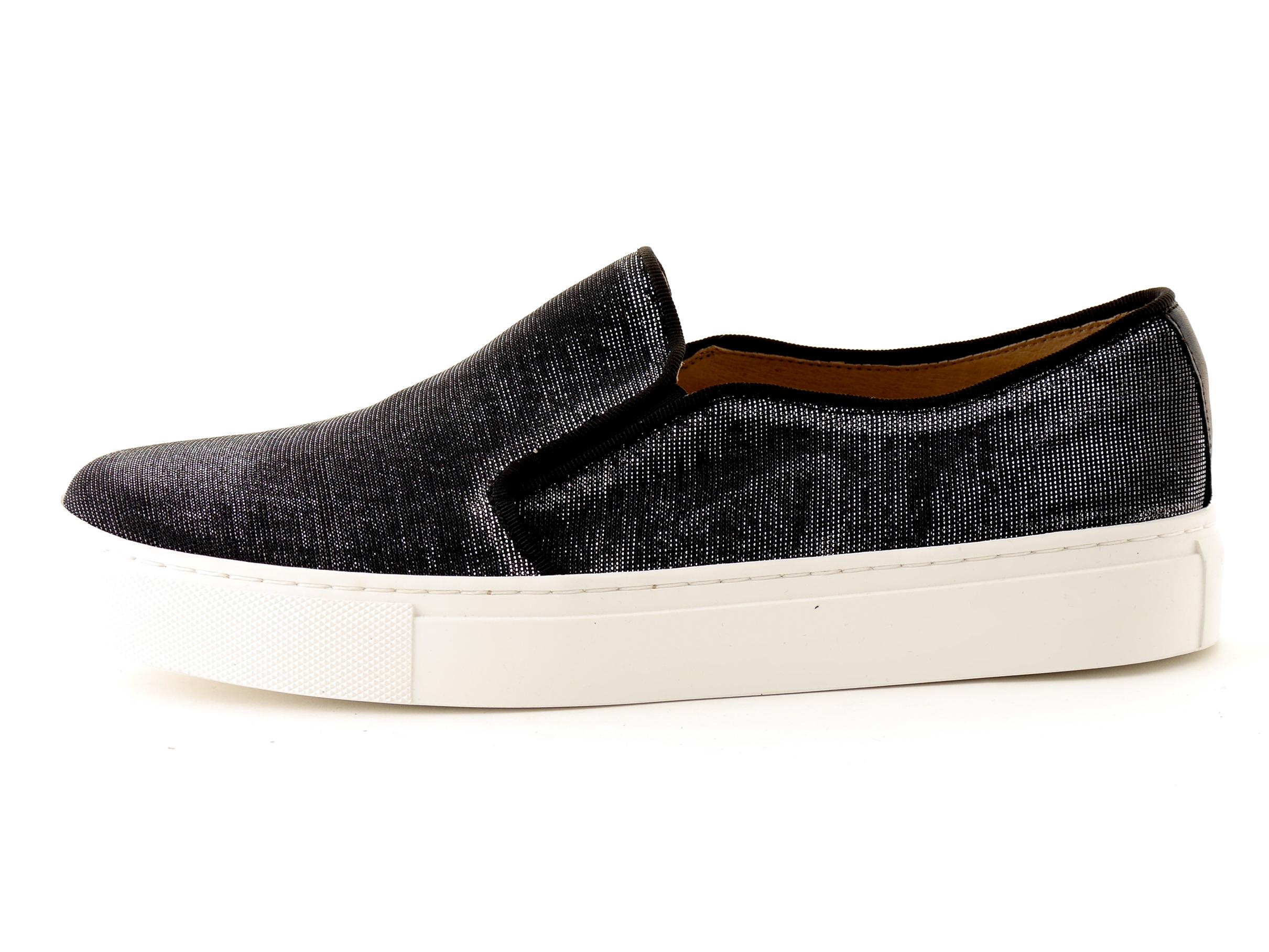 Details zu KMB Schuhe Slipper Slip On Notturno schwarz Glitzer Textil Gummi Leder