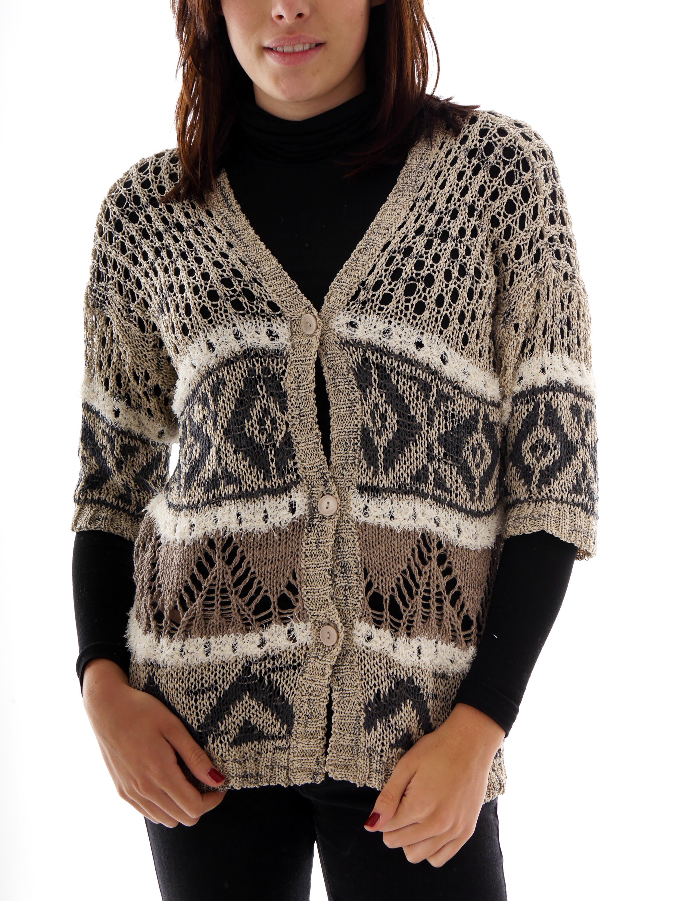 Please Strickjacke Häkeljacke beige V - Ausschnitt Muster halbarm | eBay