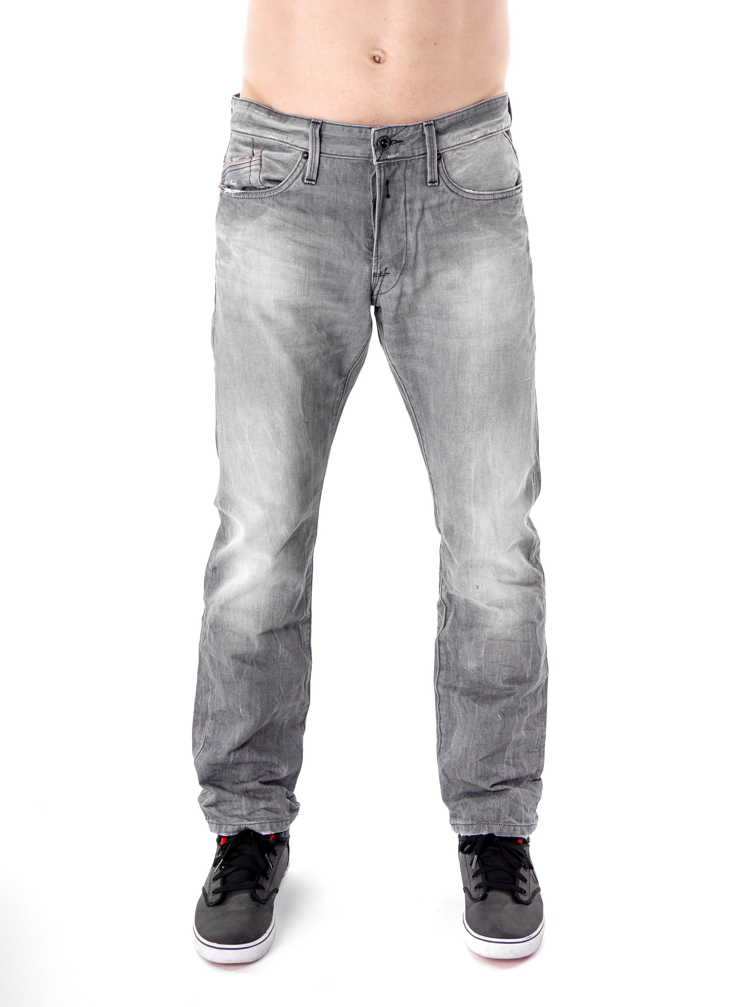 replay jeans hose waitom grau knopfleiste 5 pocket regular slim fit ebay. Black Bedroom Furniture Sets. Home Design Ideas