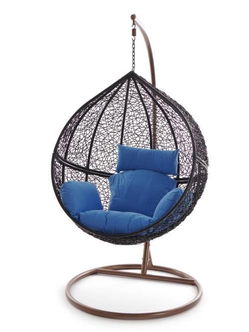 swing chair h ngesessel wei h ngestuhl schwarz polyrattan schwebesitz lounge ebay. Black Bedroom Furniture Sets. Home Design Ideas