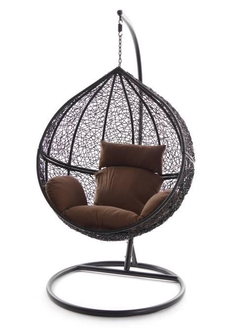 swing chair h ngesessel wei h ngestuhl schwarz polyrattan. Black Bedroom Furniture Sets. Home Design Ideas