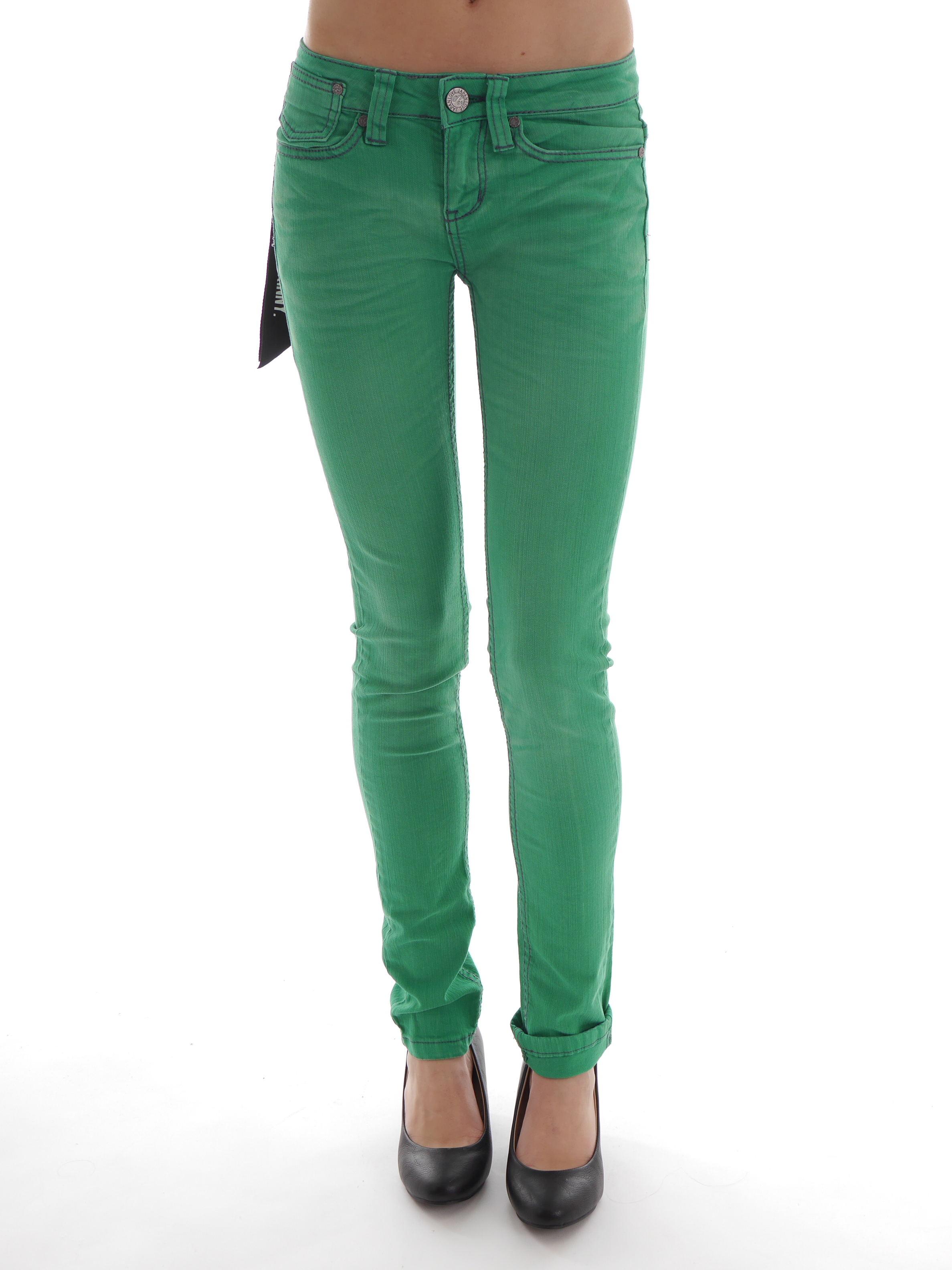 One Green Elephant Jeans Hose Memphis O1931 grün Skinny Röhrenjeans