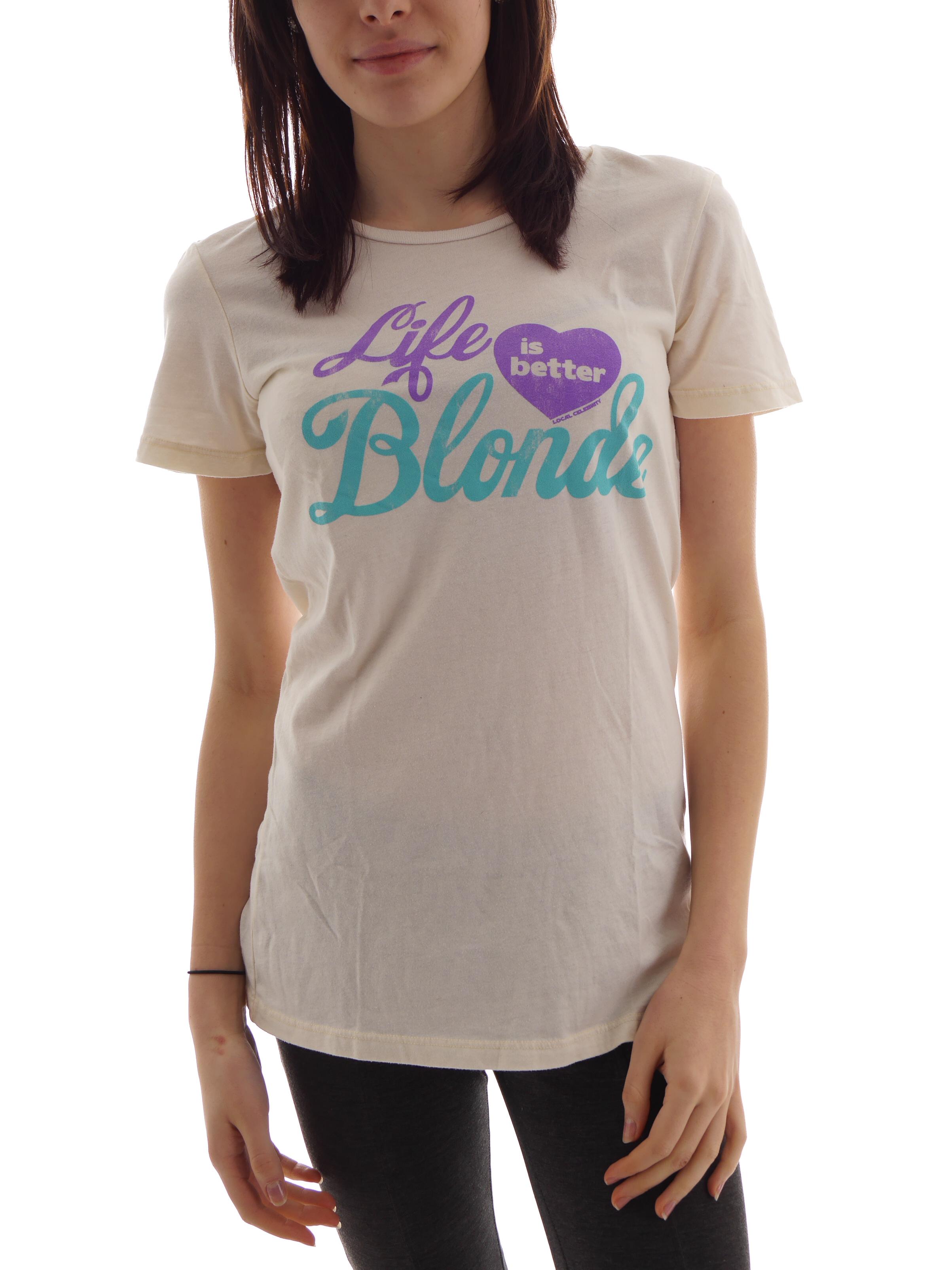 Local Celebrity T-Shirt Oberteil Life Is Better Blond creme kurzarm