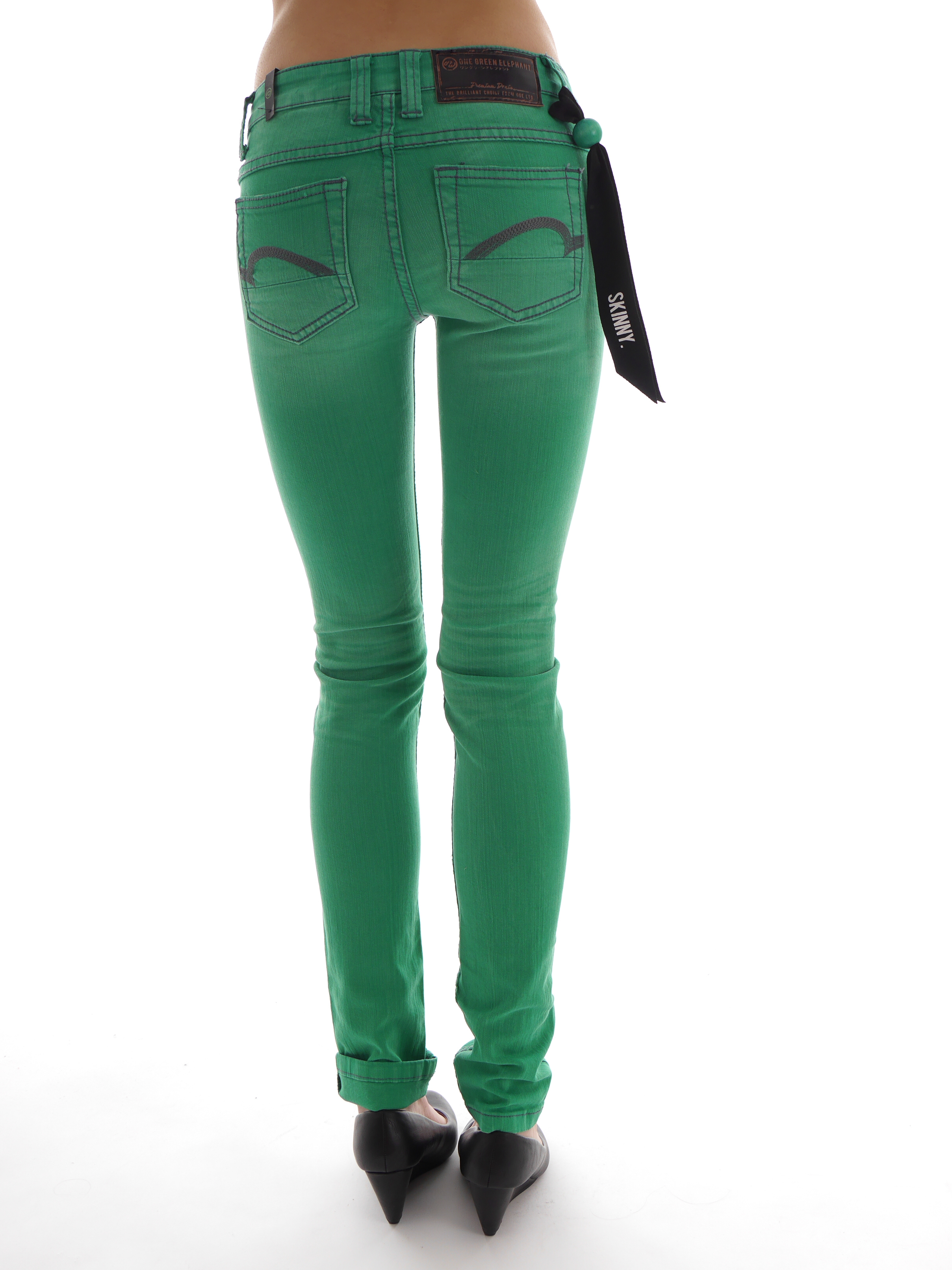 one green elephant jeans trousers memphis o1931 green skinny jeans ebay. Black Bedroom Furniture Sets. Home Design Ideas