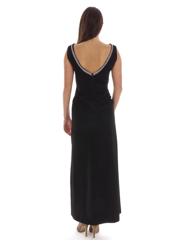 5778bce42ce0f Richard Kravetz Kleid Seidenkleid Abendkleid schwarz Swarovski Schlitz