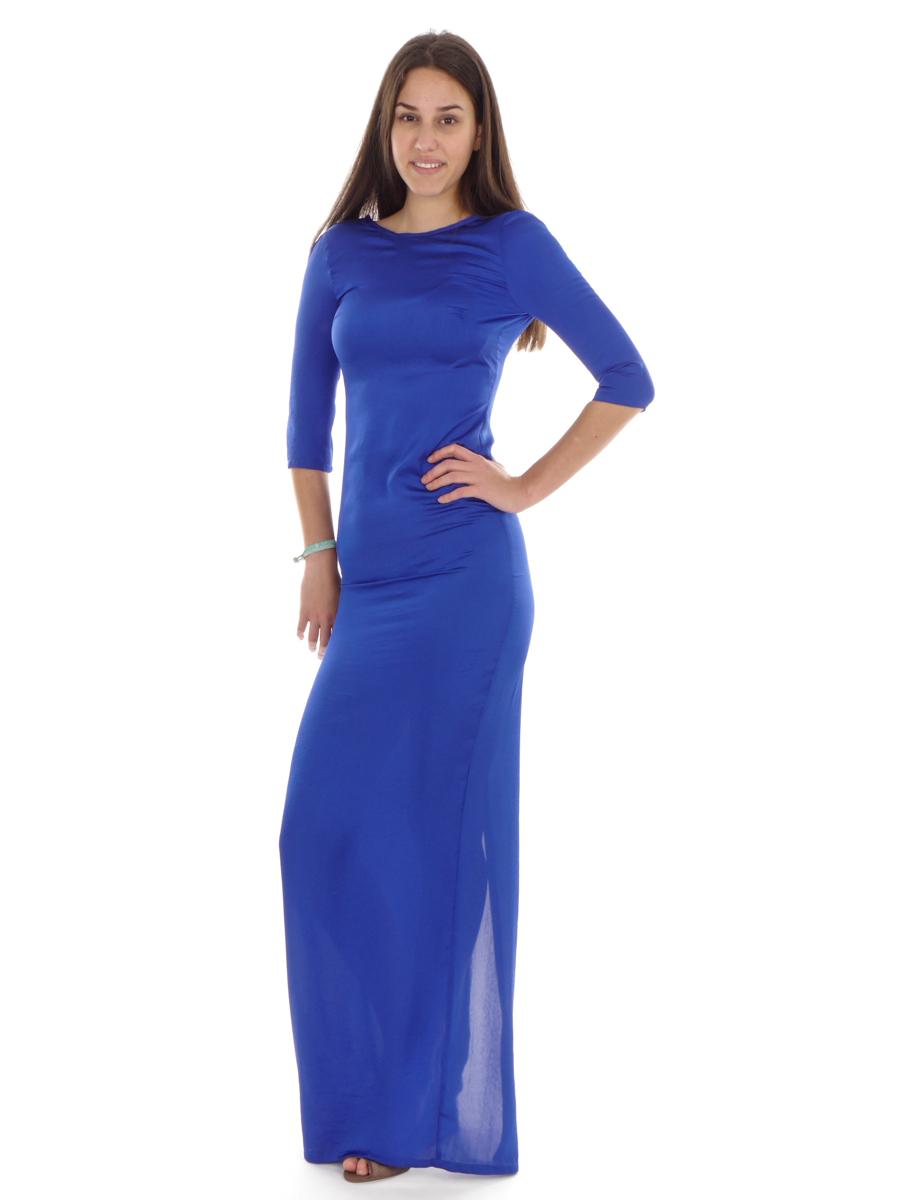 details zu richard kravetz kleid abendkleid seidenkleid blau rundhals lang  Ärmel