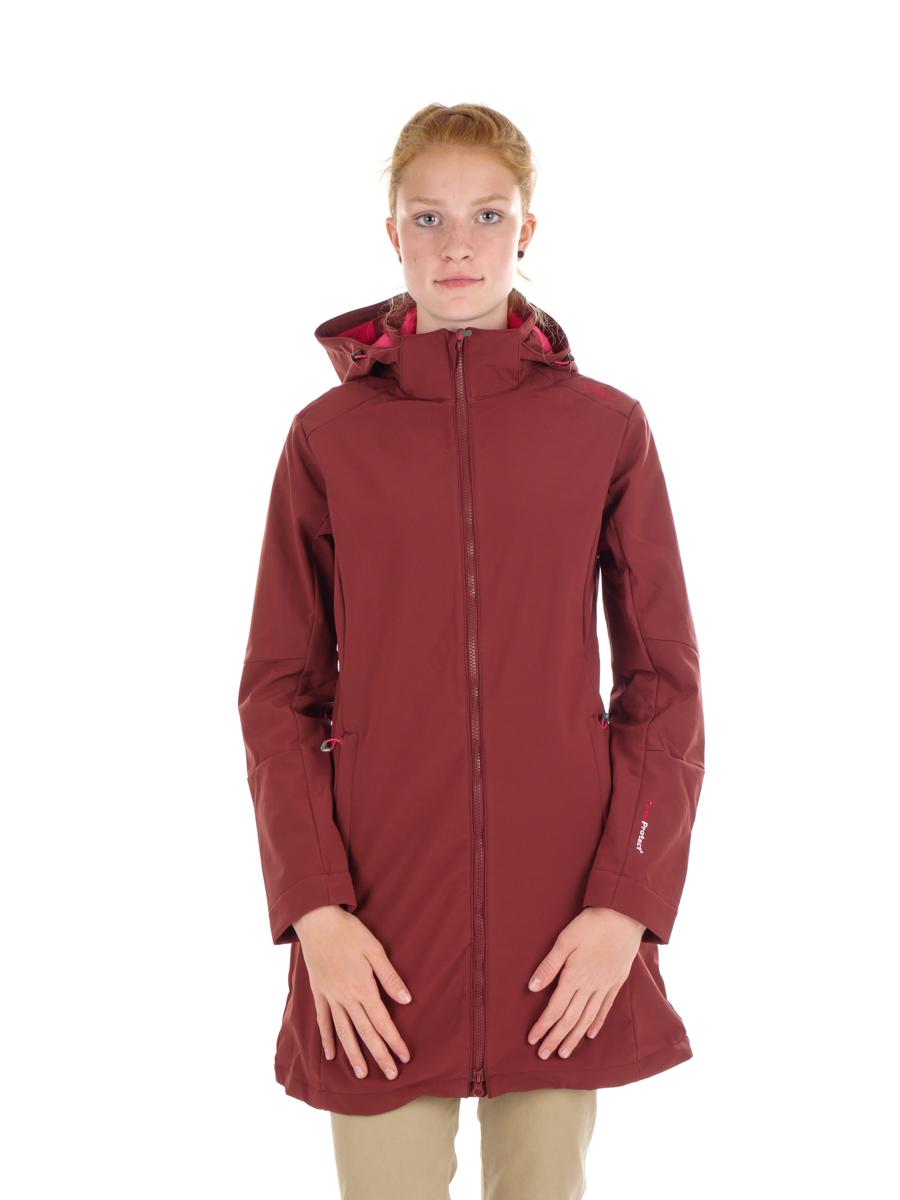 Détails sur CMP Softshellmantel Veste Femme Manteau Zip Hood Rouge Coupe Vent Unicolore