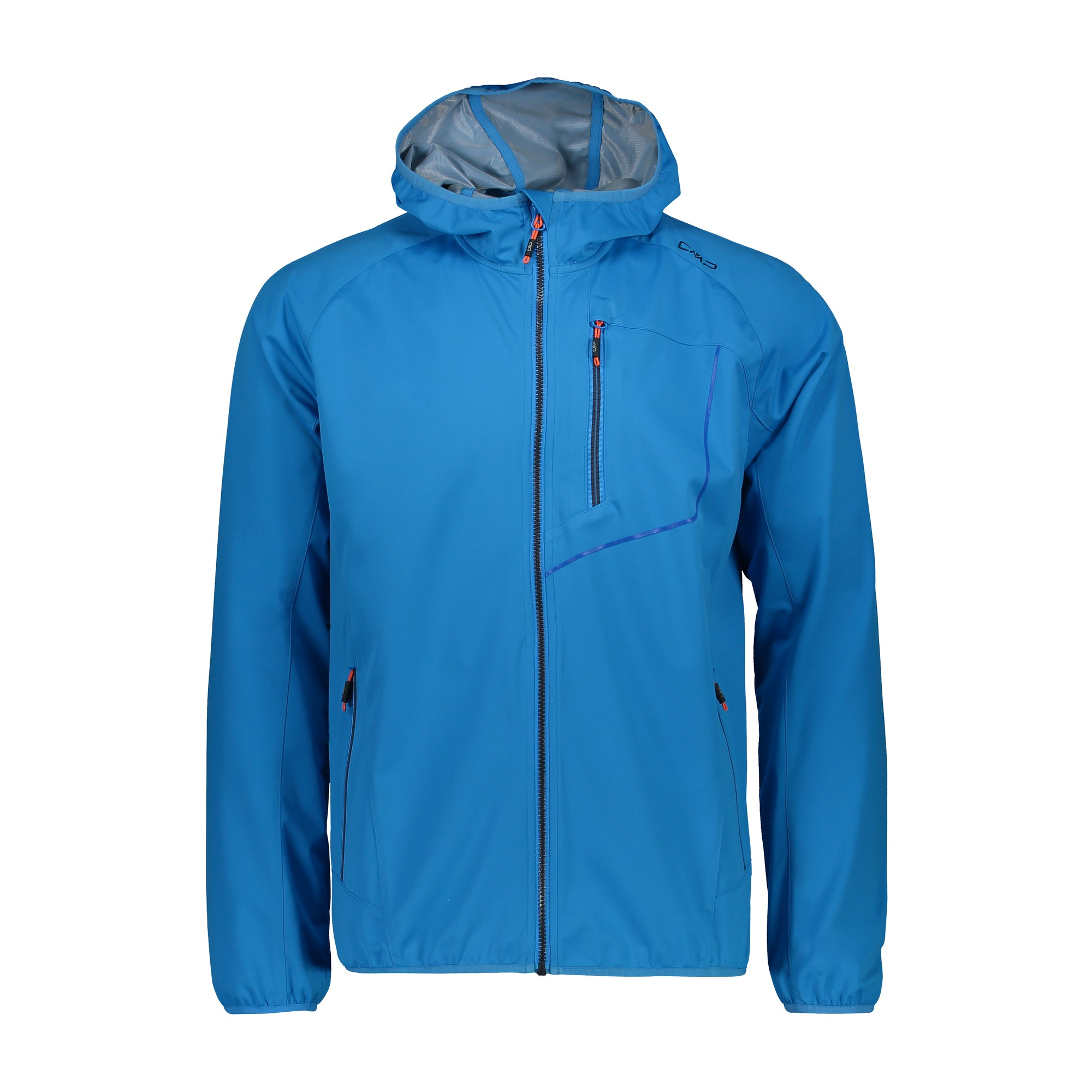 Details about CMP Softshell Jacket Man Jacket Fix Hood Blau Windproof Waterproof Lightweight