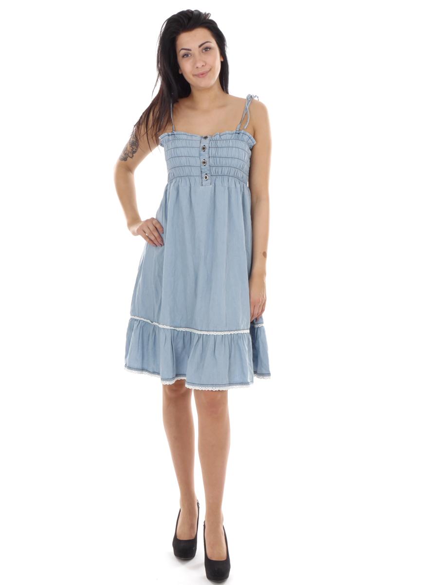 details zu raiden kleid sommerkleid jeanskleid hellblau spaghetti-träger